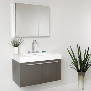 Fresca Vista Gray Oak 36-inch Modern Bathroom Vanity with Medicine Cabinet