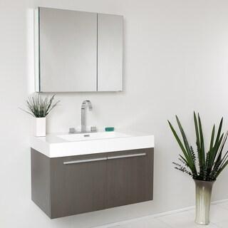 Fresca Vista Gray Oak 36-inch Modern Bathroom Vanity with Medicine Cabinet