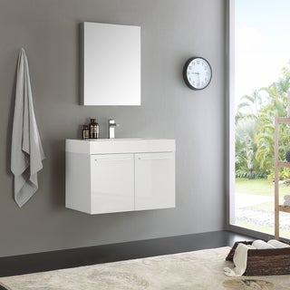 Fresca Vista Modern White MDF, Aluminum, and Glass 30-inch Wall-hung Bathroom Vanity With Frameless Medicine Cabinet