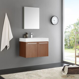 Fresca Vista Teak/Chrome Aluminum/Glass/MDF 30-inch Modern Bathroom Vanity with Medicine Cabinet
