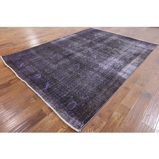 Hand-knotted Oriental Overdyed Purple Wool Rug (6' 9 x 9' 4)