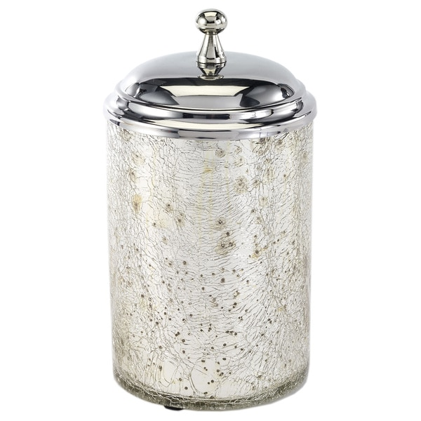 Mercury Glass Crackle Medium Canister Silver