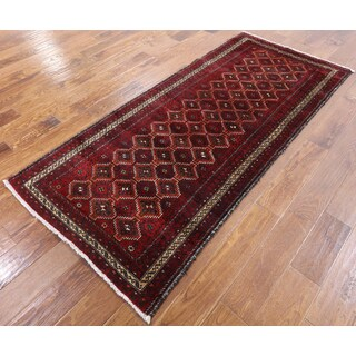 Baluch Red Wool Hand-knotted Oriental Rug (3'1 x 6'10)