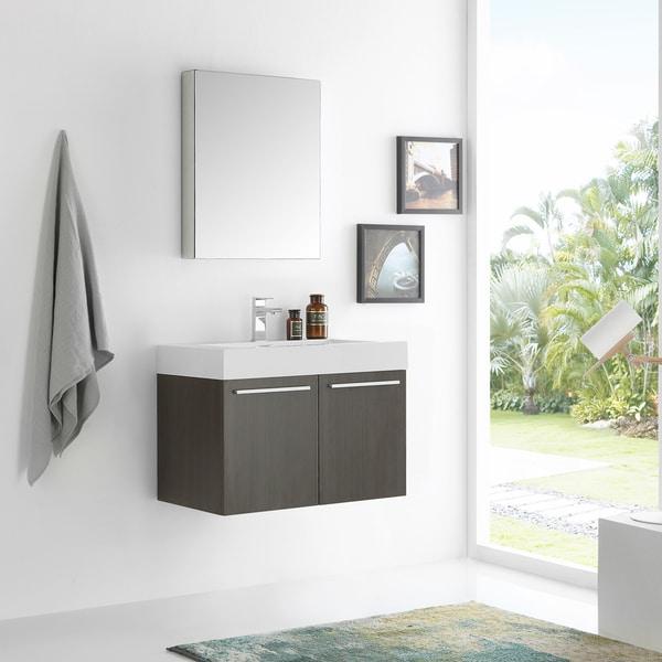 Shop Fresca Vista Grey Oak 30 Inch Wall Hung Modern Bathroom Vanity