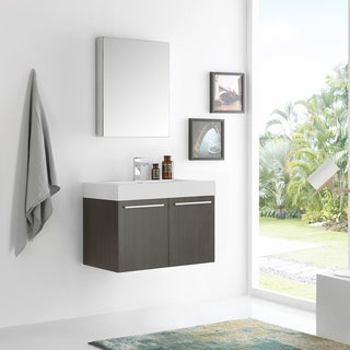 Fresca Vista Grey Oak 30-inch Wall-hung Modern Bathroom Vanity with Medicine Cabinet