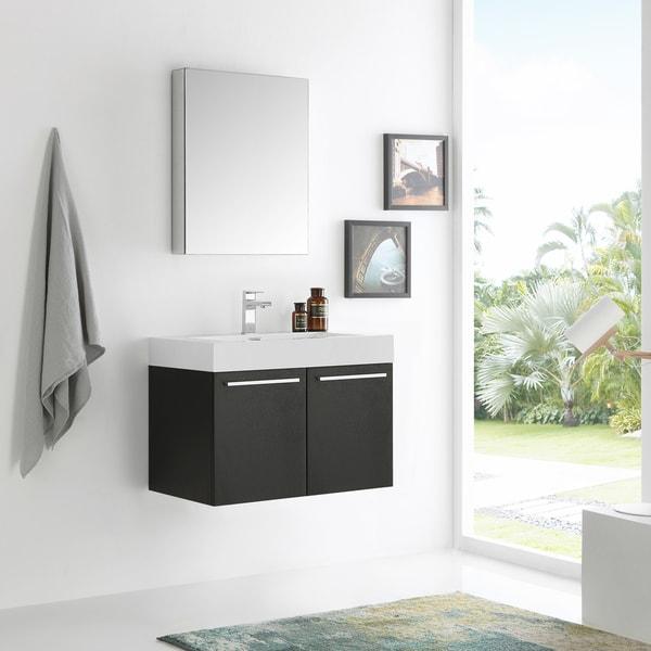 Fresca Vista 30 Inch Black Wall Hung Modern Bathroom Vanity W Medicine Cabinet