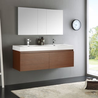 Fresca Mezzo Teak MDF and Aluminum 60-inch Wall-hung Double-sink Bathroom Vanity with Medicine Cabinet