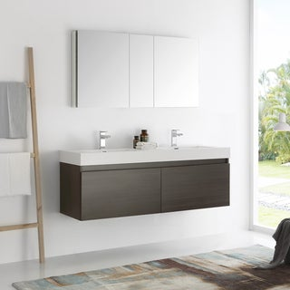 Fresca Mezzo Gray Oak 60-inch Wall Hung Double Sink Modern Bathroom Vanity with Medicine Cabinet