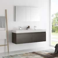 Fresca Mezzo Gray Oak 60-inch Wall Hung Double Sink Modern Bathroom Vanity with Medicine Cabinet