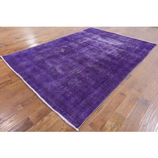 Hand-knotted Oriental Overdyed Purple Wool Rug (6' 6 x 9' 1)