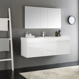 Fresca Mezzo White 60-inch Wall Hung Single Sink Modern Bathroom Vanity with Medicine Cabinet