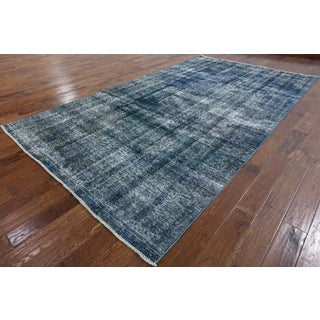 Hand-knotted Oriental Overdyed Blue Wool Rug (6' 10 x 12' 3)