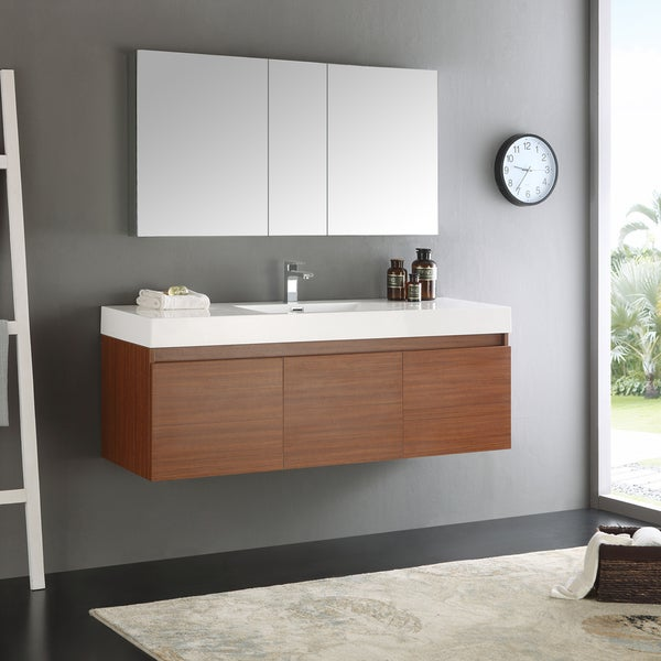 60 inch bathroom vanity single sink shop fresca mezzo whiteteak 60 inch single sink bathroom 24794