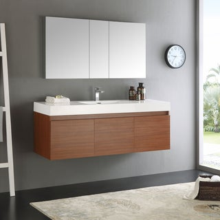 Fresca Mezzo WhiteTeak 60-inch Single-sink Bathroom Vanity with Medicine Cabinet
