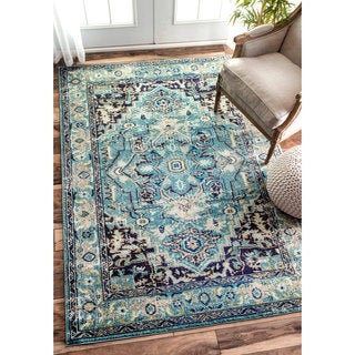 nuLOOM Traditional Flower Medallion Aqua Rug (7'10 x 11')