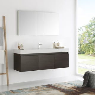 Fresca Mezzo Modern Gray Oak, Aluminum, and Glass Wall-hung Single-sink 60-inch Bathroom Vanity With Frameless Medicine Cabinet