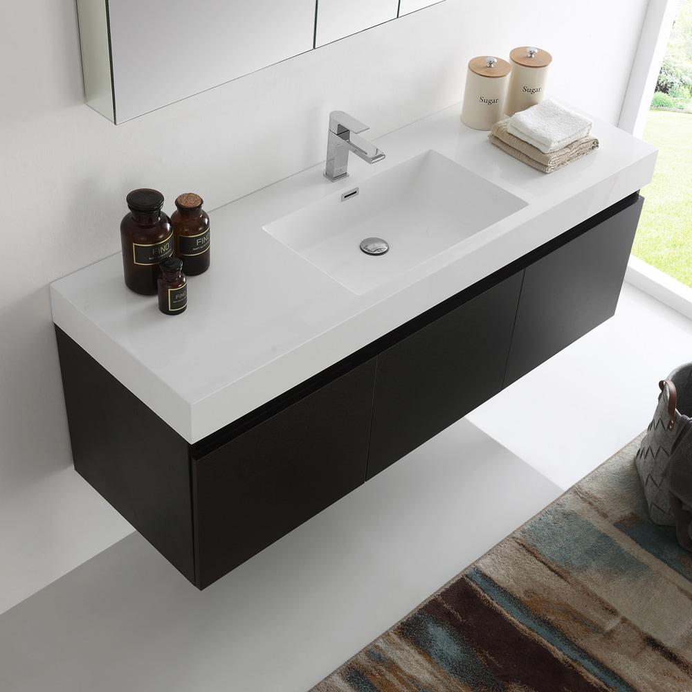 Fresca Mezzo Black 60 Inch Wall Hung Single Sink Modern Bathroom Vanity With Medicine Cabinet Overstock 12875669