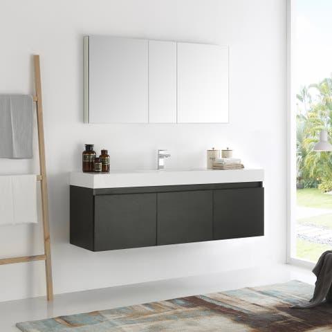 Fresca Mezzo Black 60 Inch Wall Hung Single Sink Modern Bathroom Vanity With Medicine Cabinet