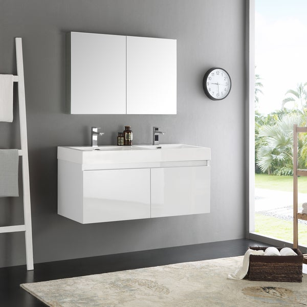 Shop Fresca Mezzo White 48 Inch Wall Hung Double Sink