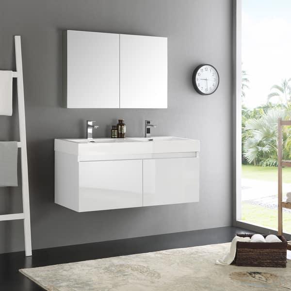 Shop Fresca Mezzo White 48 Inch Wall Hung Double Sink Modern