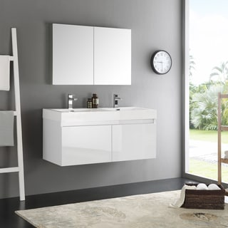 Fresca Mezzo White 48-inch Wall Hung Double Sink Modern Bathroom Vanity with Medicine Cabinet