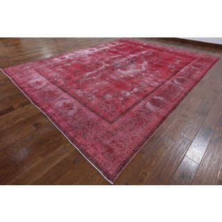 Hand-knotted Oriental Overdyed Pink Wool Rug (9' 7 x 12' 8)