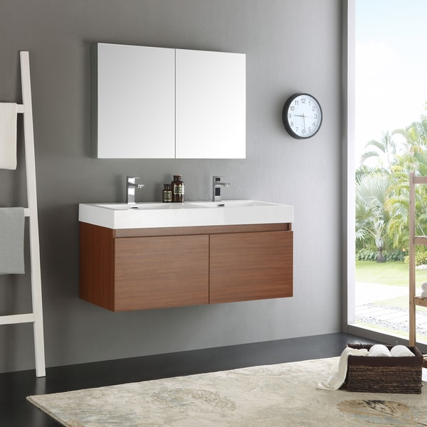 Shop fresca mezzo teak mdf aluminum glass 48 inch double - 50 inch double sink bathroom vanity ...