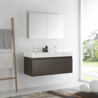 Fresca Mezzo Gray Oak 48 Inch Wall Hung Double Sink Modern Bathroom Vanity  With Medicine