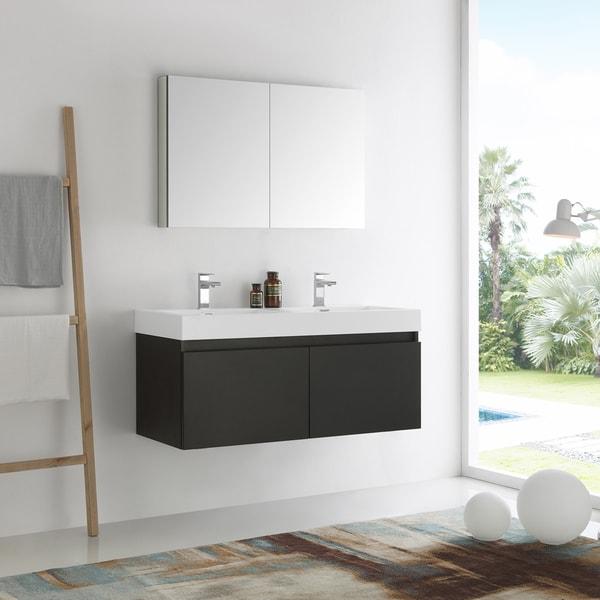 Fresca Mezzo Black 48 Inch Wall Hung Double Sink Modern Bathroom Vanity  With Medicine Cabinet