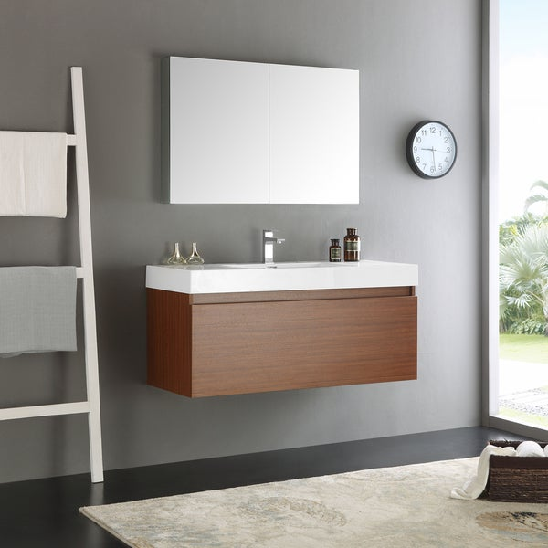 vanity wall cabinets for bathrooms shop fresca mezzo teak mdf aluminum glass 48 inch wall 27924