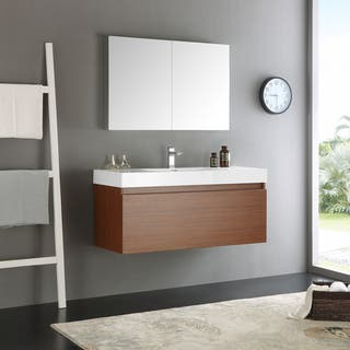 Fresca Mezzo Teak MDF/Aluminum/Glass 48-inch Wall-hung Modern Bathroom Vanity With Medicine Cabinet|https://ak1.ostkcdn.com/images/products/12875698/P19636003.jpg?impolicy=medium