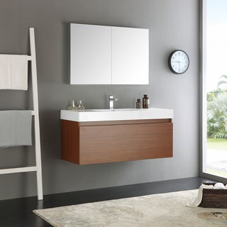 Fresca Mezzo Teak MDF/Aluminum/Glass 48-inch Wall-hung Modern Bathroom Vanity With Medicine Cabinet