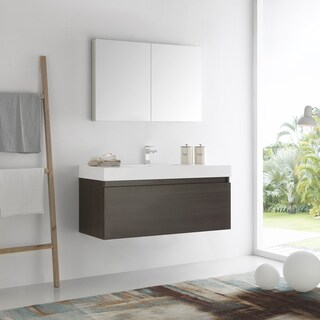 Fresca Mezzo Grey Oak MDF and Glass 48-inch Wall-hung Modern Bathroom Vanity with Medicine Cabinet