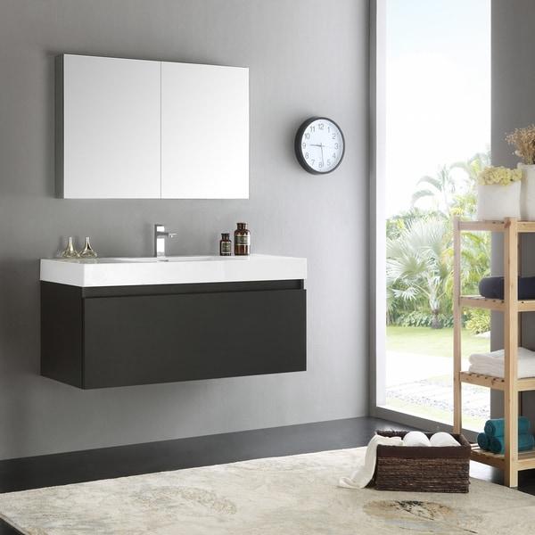 Shop Fresca Mezzo Modern Black 48 Inch Wall Hung Bathroom