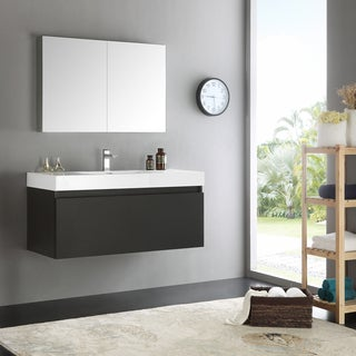 Fresca Mezzo Modern Black 48-inch Wall-hung Bathroom Vanity with Medicine Cabinet