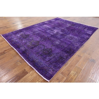 Hand-knotted Oriental Overdyed Purple Wool Rug (6' 8 x 9' 1)