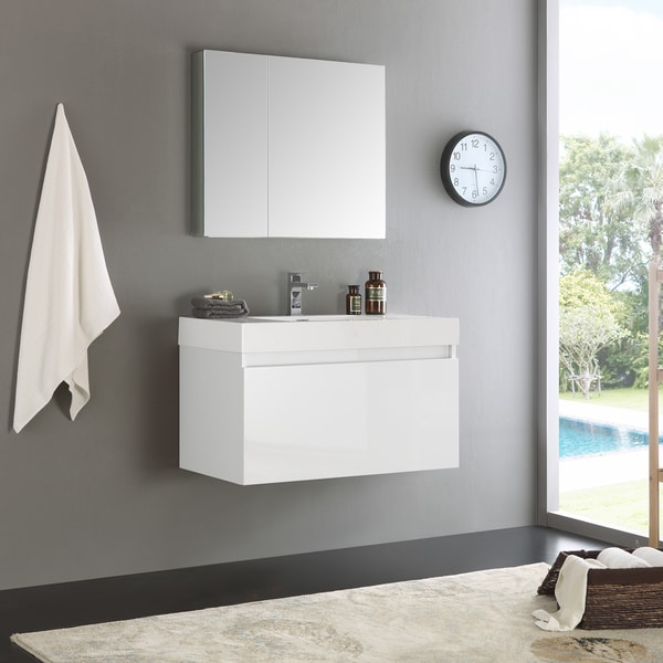 Fresca Mezzo White 36 Inch Wall Hung Modern Bathroom Vanity With Medicine  Cabinet