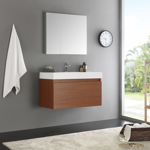 Merveilleux Fresca Mezzo Teak Wall Hung Modern 36 Inch Bathroom Vanity And Medicine  Cabinet