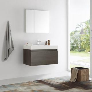 Fresca Mezzo 36-inch Gray Oak Wall Hung Modern Bathroom Vanity with Medicine Cabinet