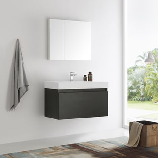 Fresca Mezzo 36-inch Black Wall Hung Modern Bathroom Vanity with Medicine Cabinet