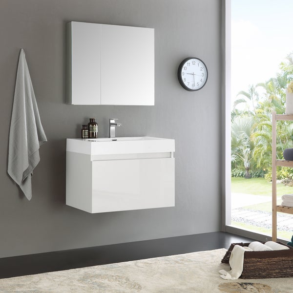 Shop Fresca Mezzowhite 30 Inch Wall Hung Modern Bathroom Vanity And Medicine Cabinet Free
