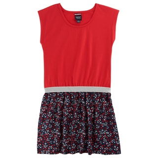 French Toast Girls Red/Blue Chiffon/Polyester Anchor Print Dress