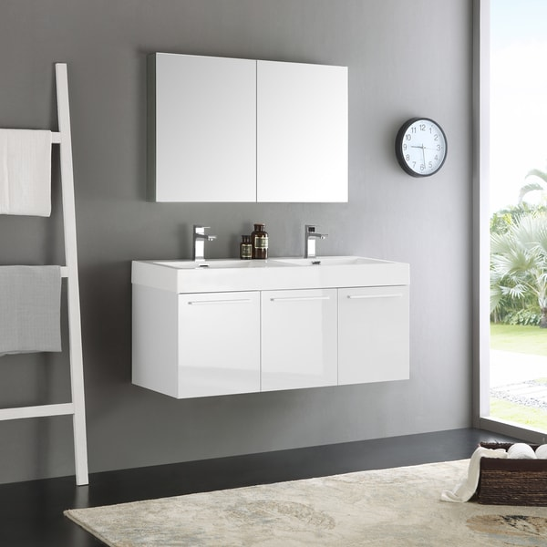 Fresca Vista White 48 Inch Wall Hung Double Sink Modern Bathroom Vanity With Medicine Cabinet