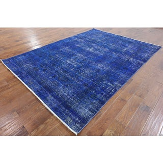 Hand-knotted Oriental Overdyed Blue Wool Rug (6' 6 x 8' 10)