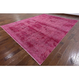 Hand-knotted Oriental Overdyed Pink Wool Rug (9' 4 x 12' 4)