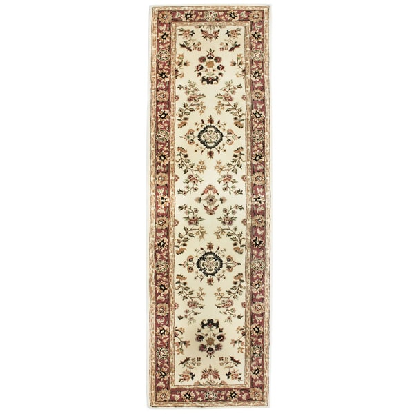 Ivory Wool and Silk Hand-tufted Trastavere Rug (2' x 7'6)