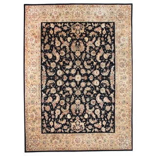Hand-tufted Trastavere Black Wool & Silk Rug (7'9 x 9'9)