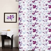 Violet Floral Print Fabric Shower Curtain (70'x72')