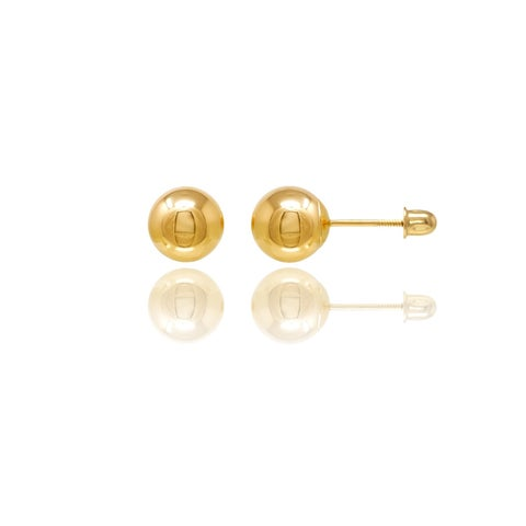 14k Yellow Gold Ball Screwback Stud Earrings