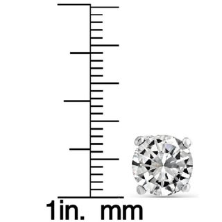 14k Solid White Gold Round Super-bright CZ Stud Earrings (More options available)